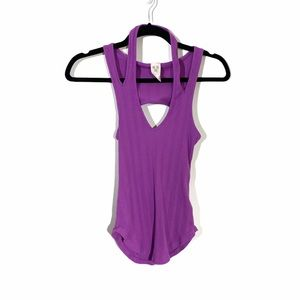 FREE PEOPLE Purple Open Back Ribbed Tank Top